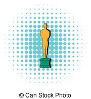 Clip Art of Gold Star Award Sculpture Statue.