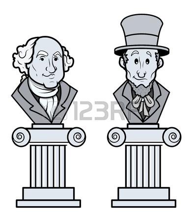 Scultura Di Abraham Lincoln E George Washington Vector Clip.