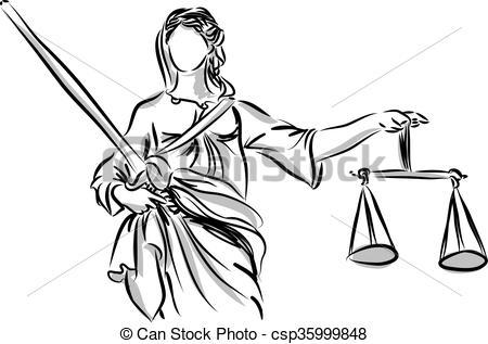 Vettore EPS di giustizia, signora, scultura, illustrazione.