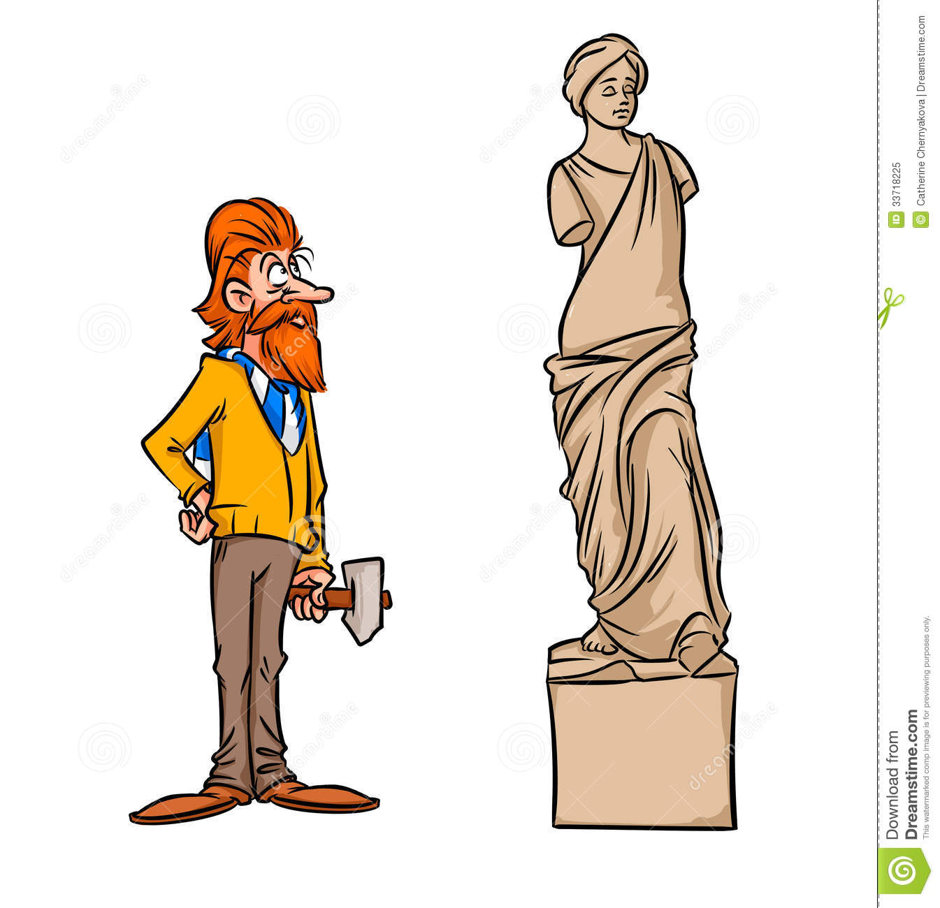 Stone Woman Statue Stock Illustrations.