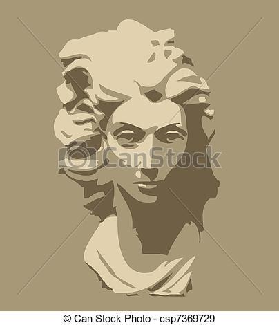 Vettori EPS di testa, donna, scultura, Marmo.