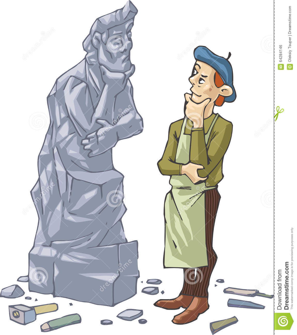 Sculptor And His Self Portrait Stock Vector.