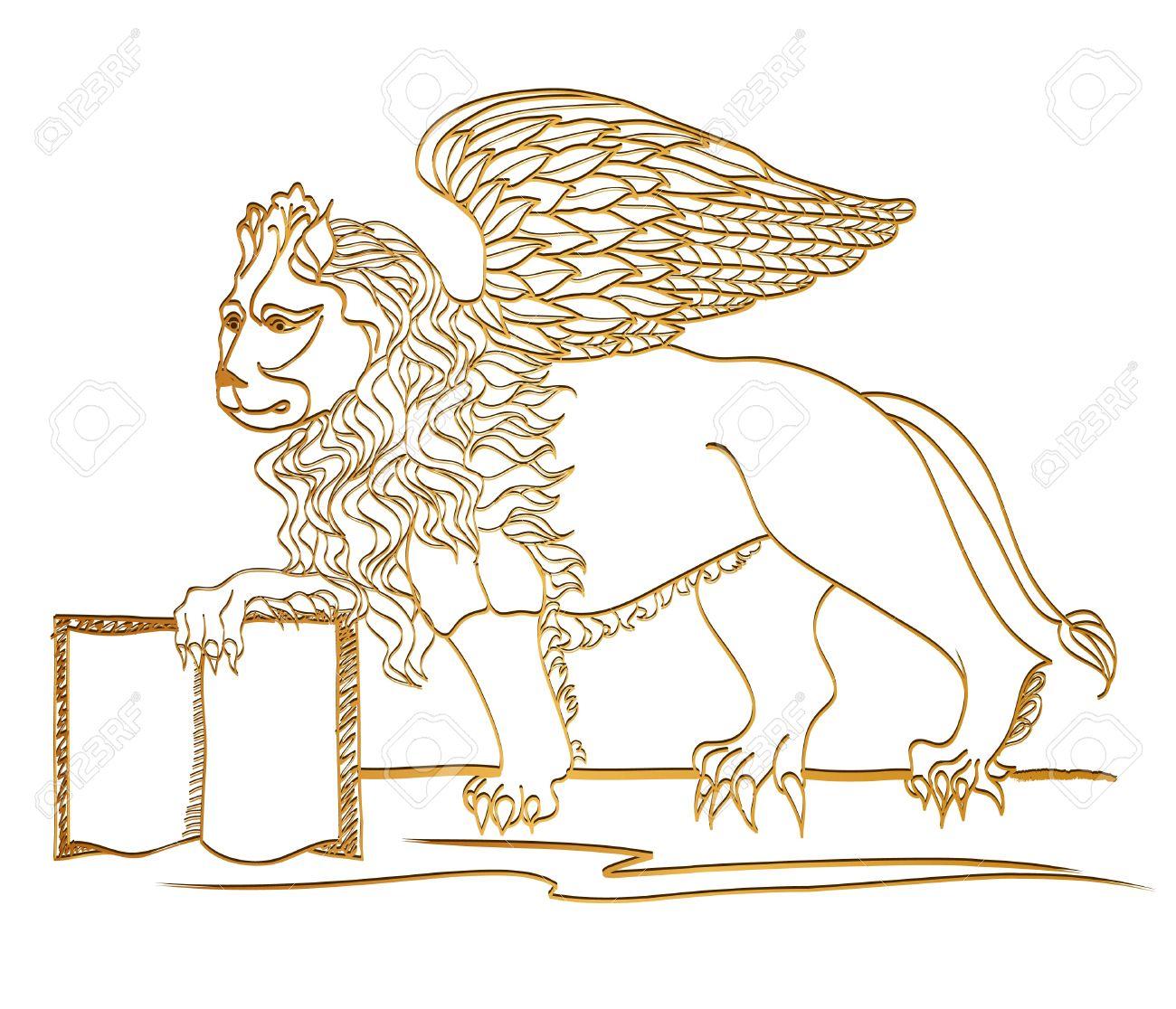 Winged Lion, Scultura D'oro, Simbolo Di San Marco, Venezia Clipart.