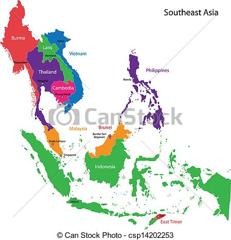 Clipart Vector of Southeastern Asia map.