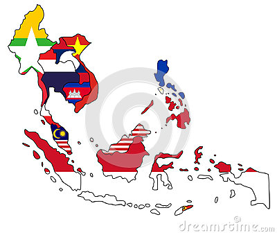 Southeast Asia Map Stock Vector.