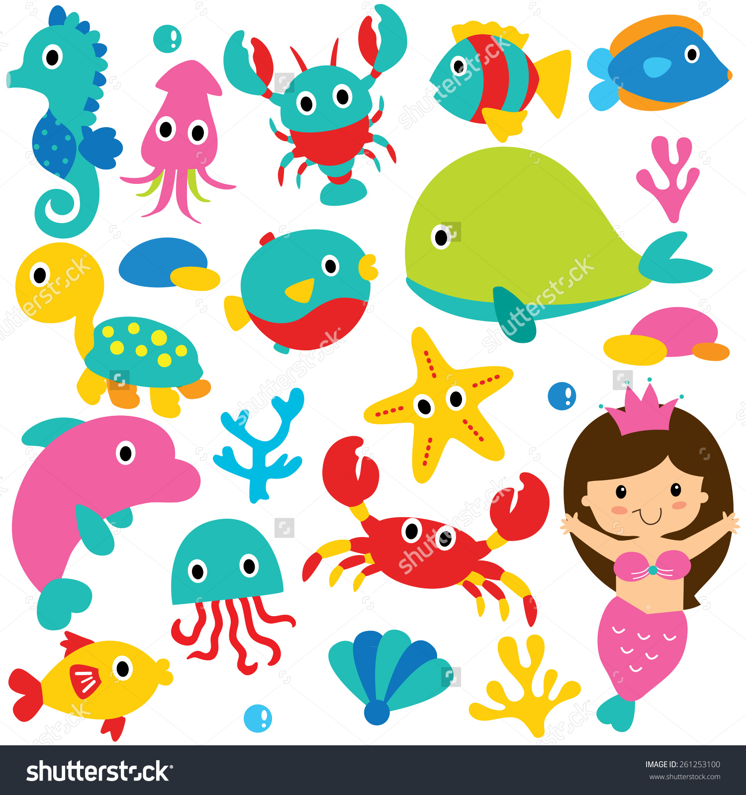Cute sea animal clipart.