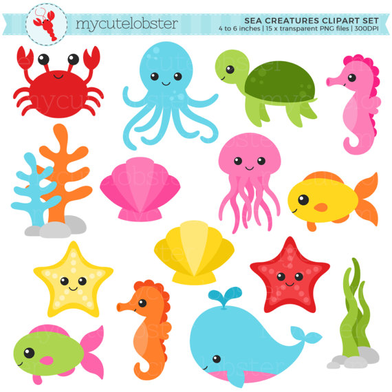 Sea Creatures Clipart Set sea animals clip art crab fish.