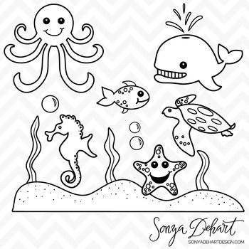 Sea animals clipart black and white 6 » Clipart Portal.