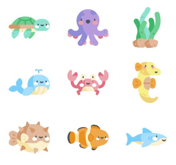 80 sea animals icon packs.