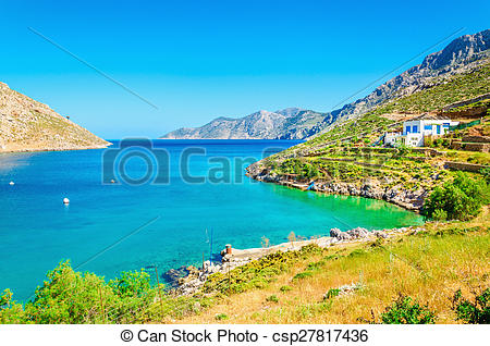 Stock Photos of Amazing sea bay on Greek Island with clear water.