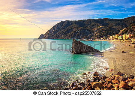 Stock Images of Monterosso beach and sea bay. Five lands, 5 terre.