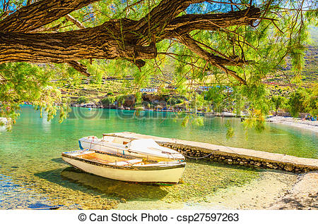 Stock Illustration of Peaceful haven with boat in sea bay, Greece.