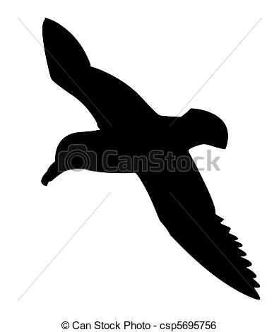 Vector Clip Art of silhouette of the sea bird on white background.