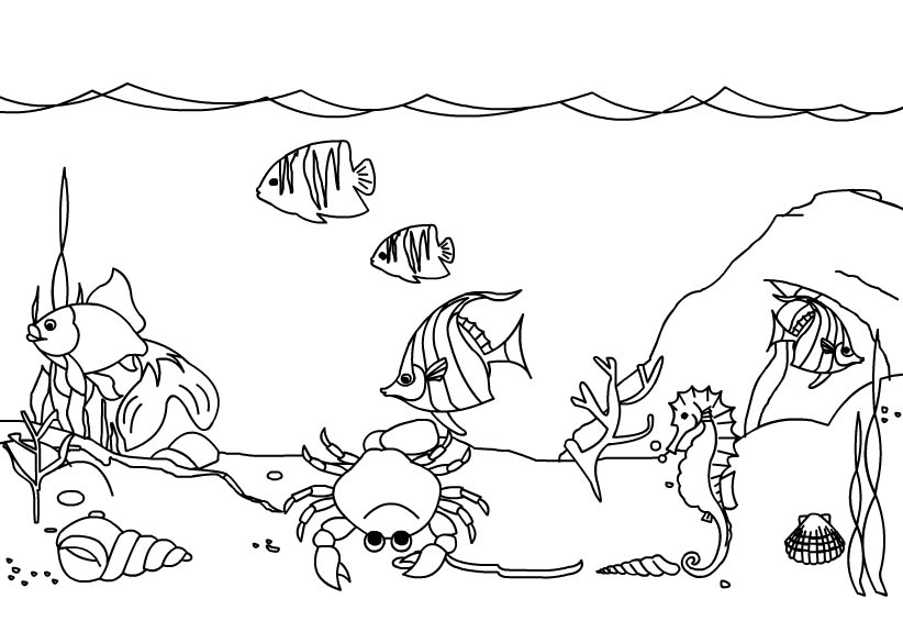 Under The Sea Black And White Clipart.