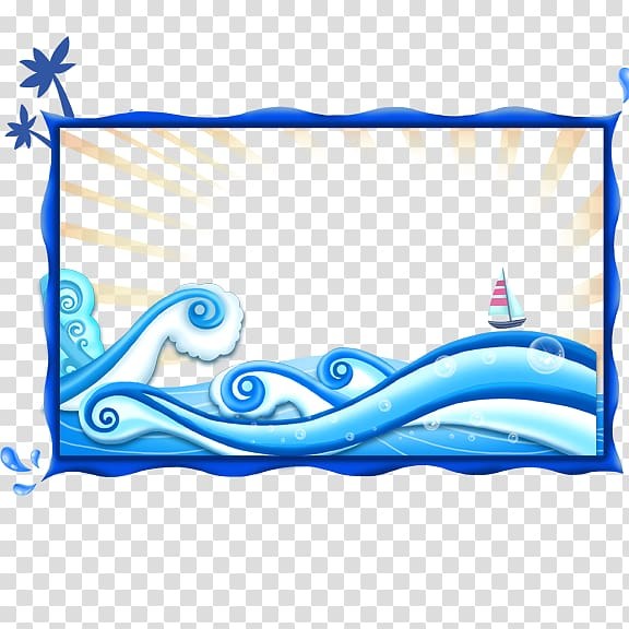 Wind wave Sea, Blue sea border transparent background PNG.