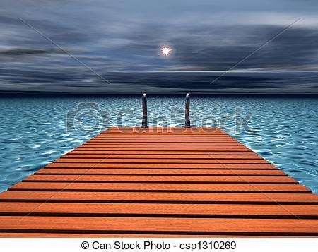 Stock Illustration of Bridge to the sea , 3d render csp1310269.