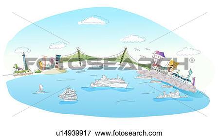 Stock Illustration of Suspension bridge across the sea u14939917.