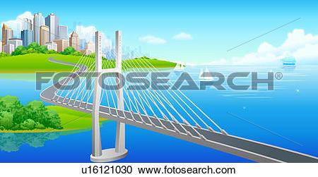 Stock Illustrations of Suspension bridge over a sea u16121030.
