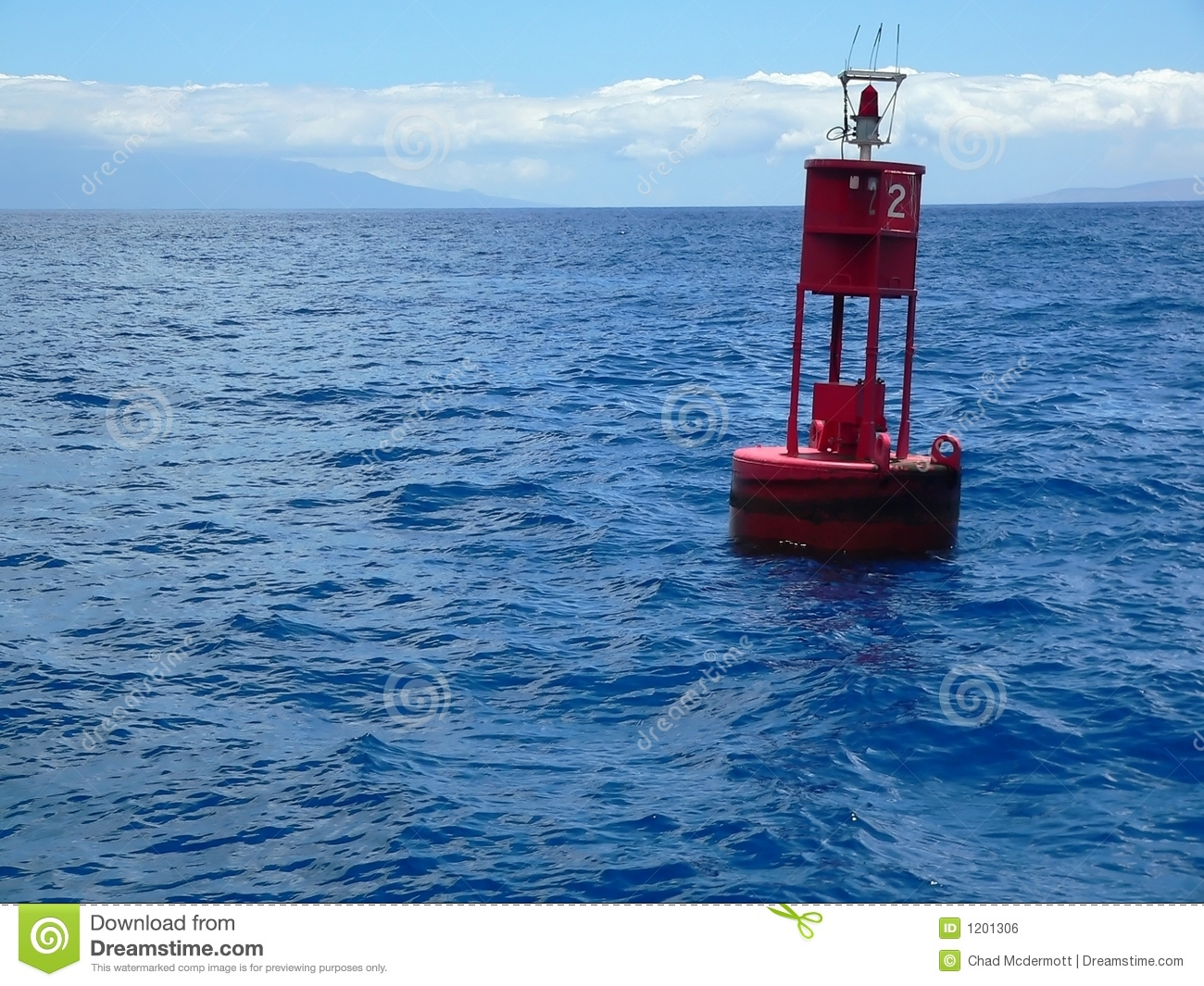 Red Buoy On Ocean Royalty Free Stock Image.
