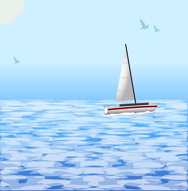Free Clipart: Sea scene with boat.