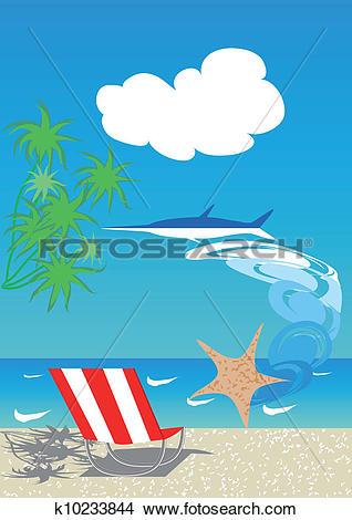 Clipart of Azure sea coast k10233844.