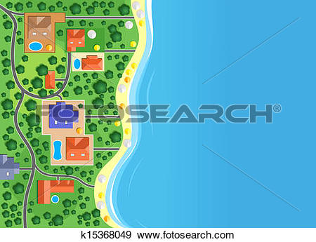 Clip Art of Houses on the sea coast k15368049.