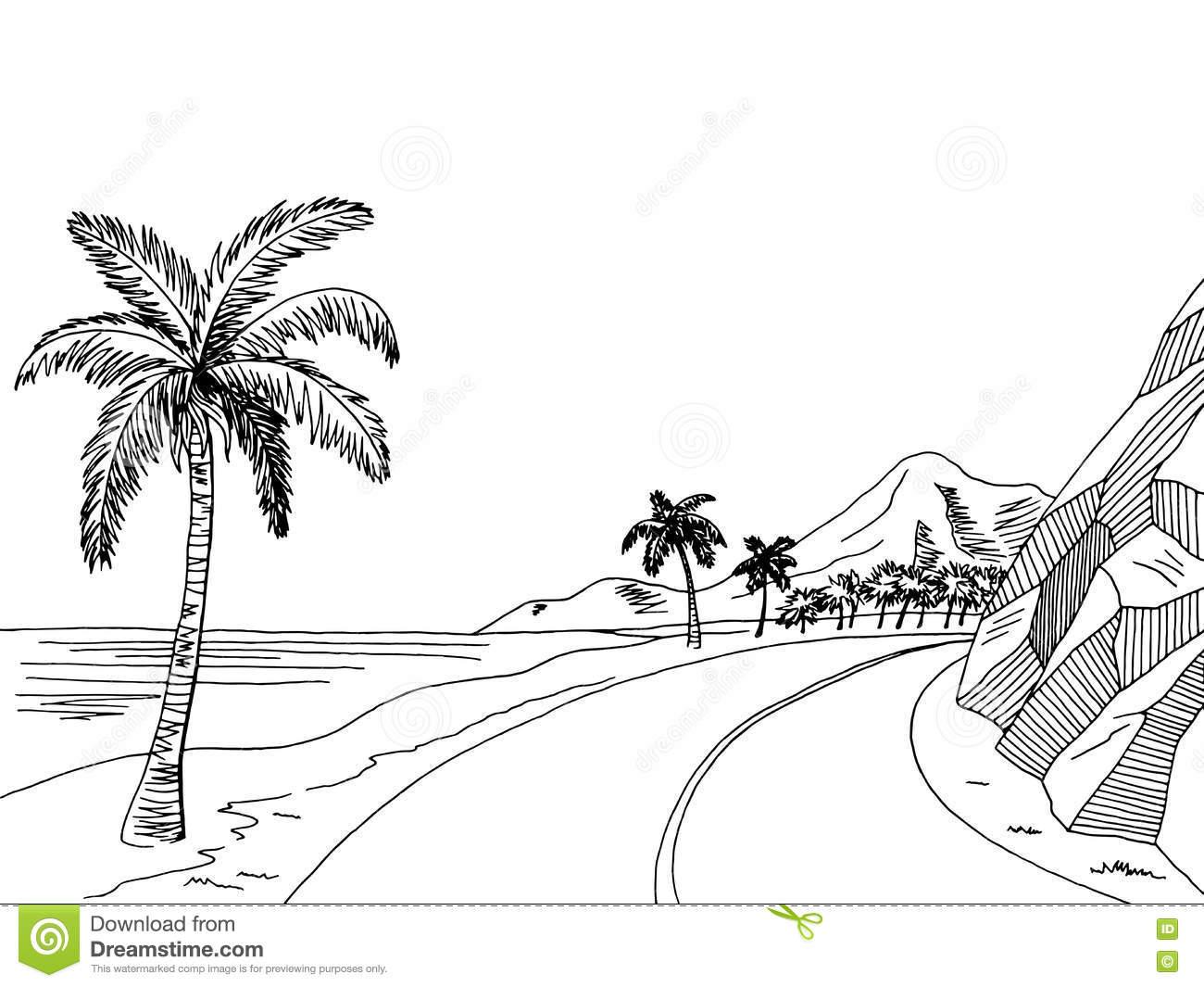 Sea Coast Graphic Art Pine Black White Landscape Illustration.