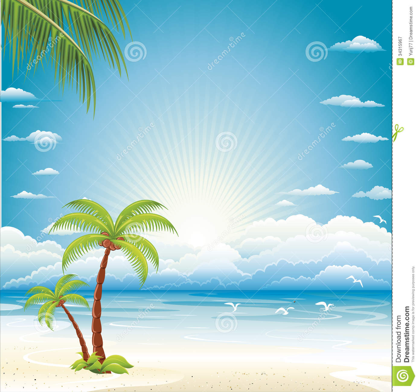 Vector Background Of Sea Beach Royalty Free Stock Photography.