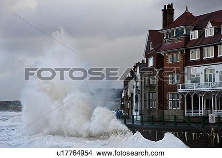 Stock Photo of England, North Yorkshire, Sandsend. Rough North sea.