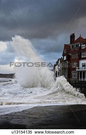 Stock Image of England, North Yorkshire, Sandsend. Rough North sea.