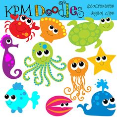 Sea Creatures Clip Art.