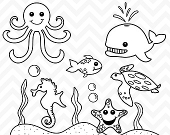Sea Creatures Clipart Black And White.
