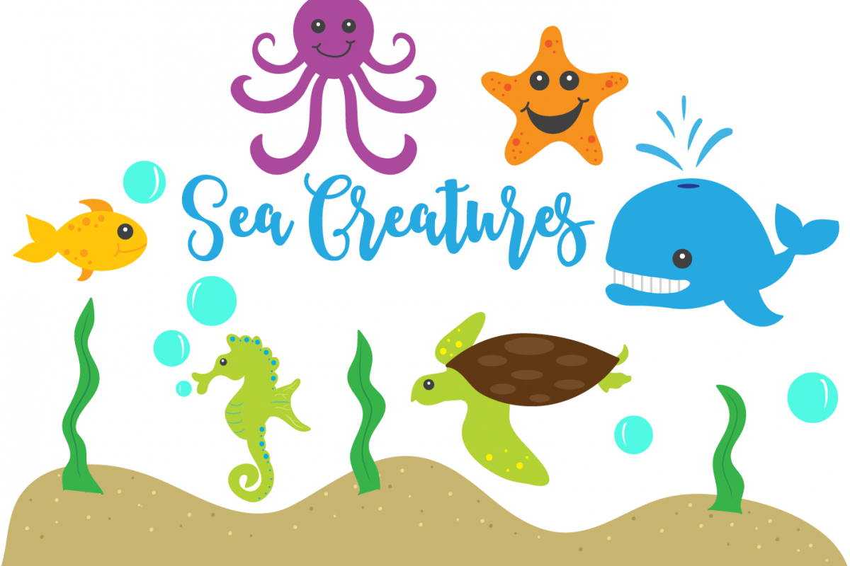 Sea Creatures Clip Art Set.