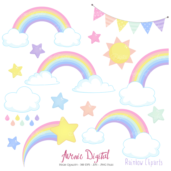 Pastel Rainbows Clipart Scrapbook printables, Vector Rainbow and.