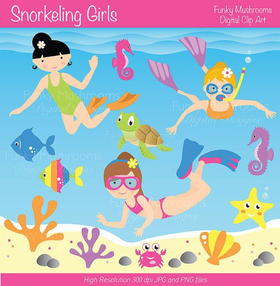 Digital Clipart Snorkeling Girls for by funkymushrooms on Etsy.