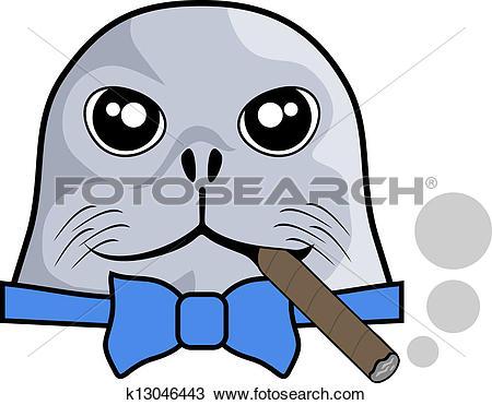 Clipart of Smoke sea dog k13046443.