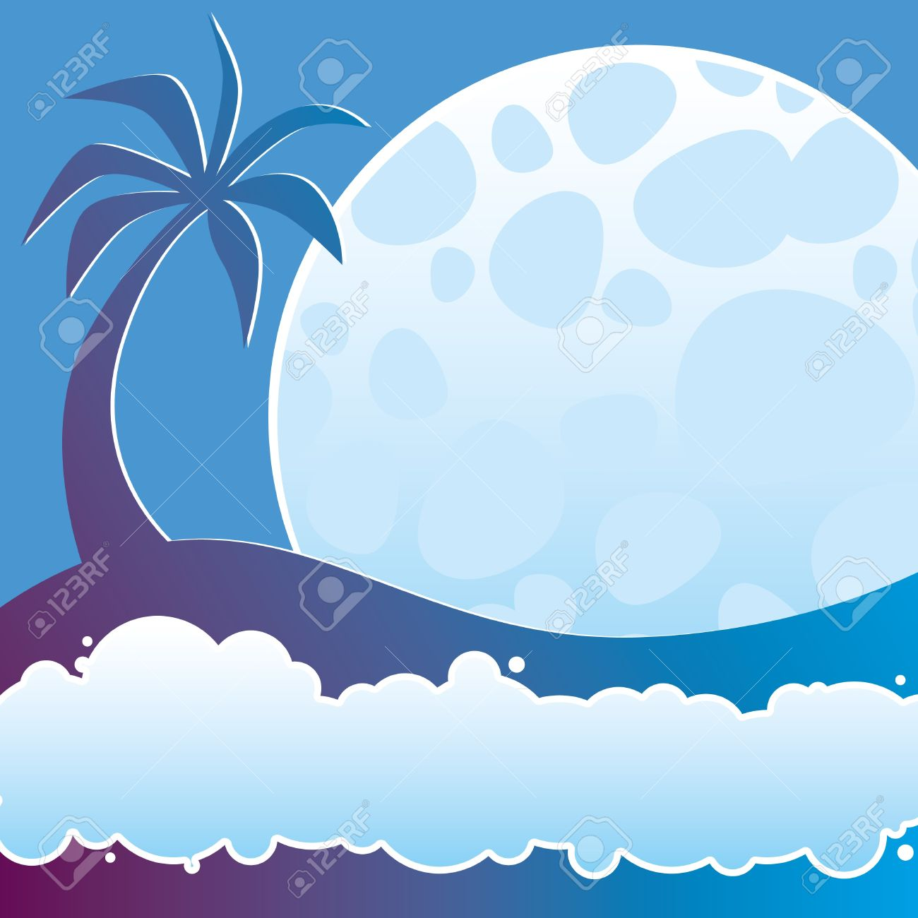 Illustration Of Tropical Night With A Palm, Moon And Sea Foam.