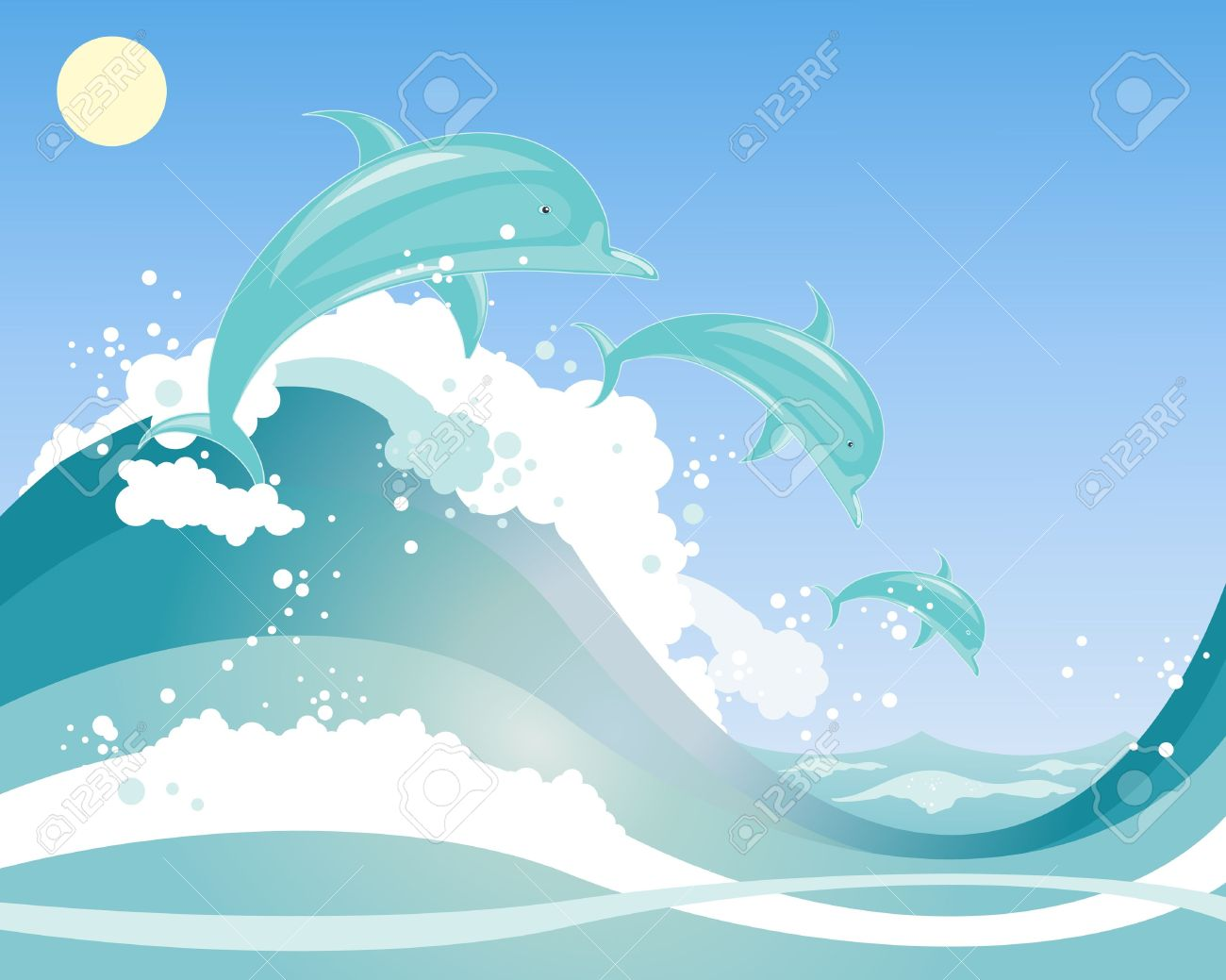 Sky and Waves Clip Art.
