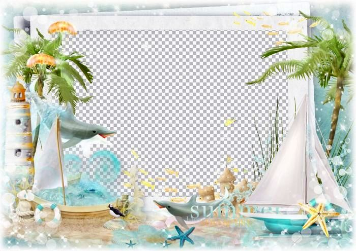 Summer sea photo frame template ( psd, png, download.