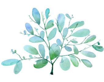 Blue and Green Seaglass Watercolor CLIP ART by SandraOvono.