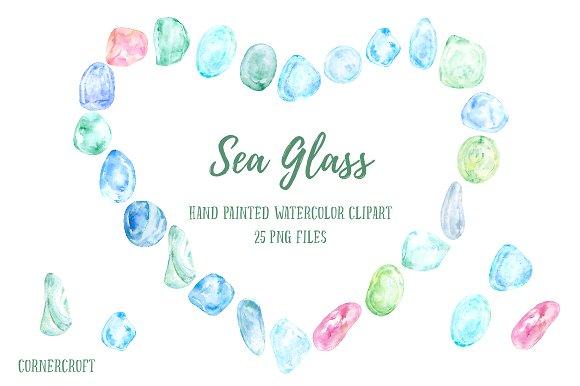 Watercolor Clipart Sea Glass ~ Illustrations on Creative Market.