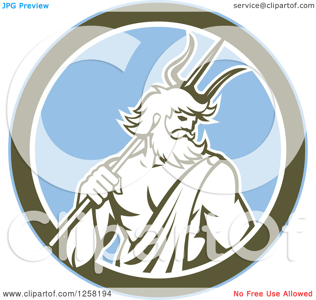 Clipart of a Roman Sea God, Neptune or Poseidon, with a Trident in.