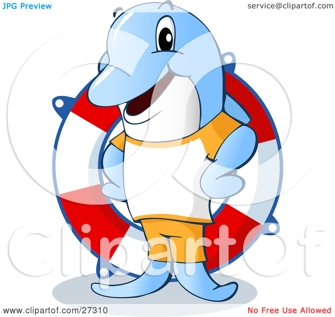 Clipart Illustration of a Friendly Blue Dolphin Life Guard.