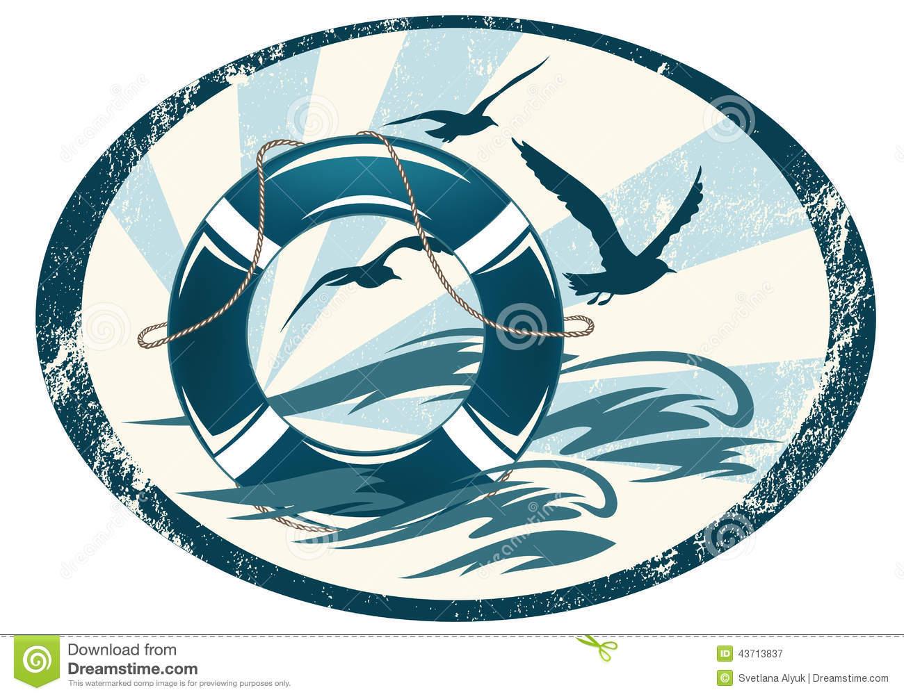 Sea Guard Emblem Stock Vector.