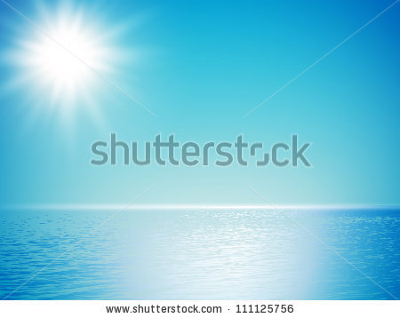 of a beautiful sun shining over the ocean with blue skies in a.