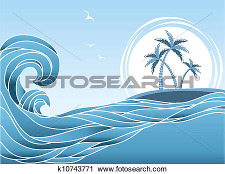 Clipart of Sea horizon with tropical island and palms.Waves.