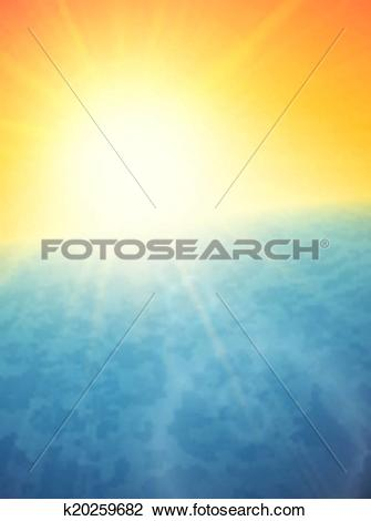 Clipart of Sunset at sea, horizon with summer sun k20259682.