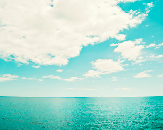 Ocean Photography turquoise teal sea horizon by CarolynCochrane.