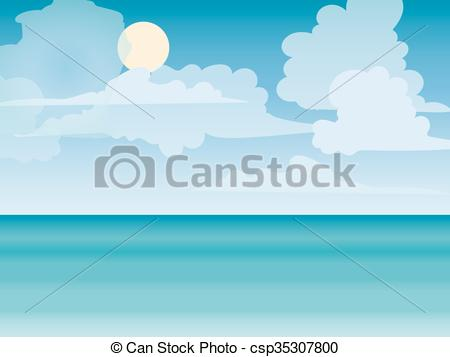 Vector Clipart of Sea horizon nature landscape. Tourism journey on.