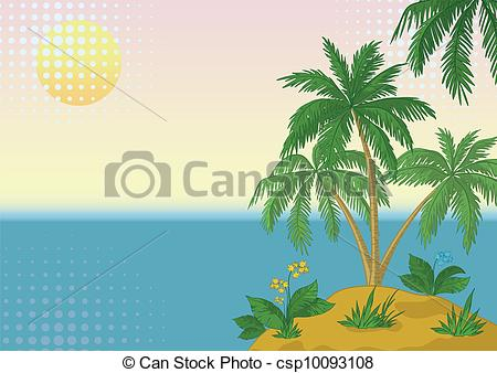 Vector Clipart of Island with palm and sun.